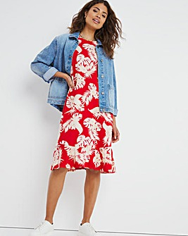 Red Tropical Puff Sleeve Swing Dress