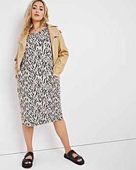 Stone Print Pocket Cocoon Jersey Dress