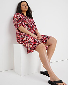 Red Ditsy Puff Sleeve Shirt Dress