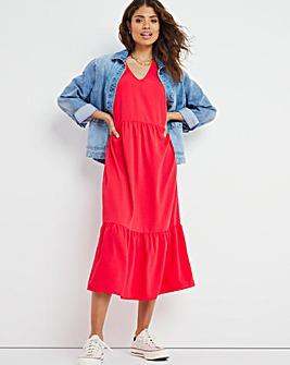 Red V-Neck Tiered Smock Midi Dress