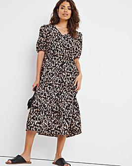Animal Print V-Neck Tiered Smock Midi Dress