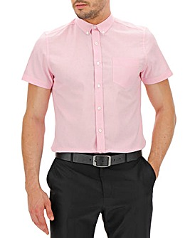 Baby Pink Short Sleeve Stretch Oxford Shirt Regular