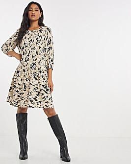 Animal Long Sleeve Smock Dress