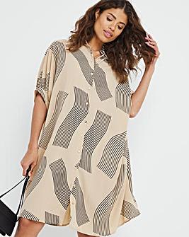 Abstract Print Oversized Shirt Dress