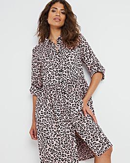 Animal Print Smock Shirt Dress