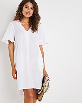 White Frill Sleeve Cocoon Dress