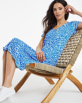 Blue Animal Super Soft Cap Sleeve Pocket Swing Dress