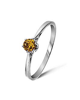 9ct White Gold 0.25Ct Honey Zircon Ring