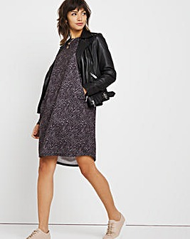 Grey Animal Cocoon Jersey Dress with Side Pockets