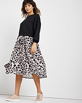 Animal Print 2 in 1 Sweatshirt Dress