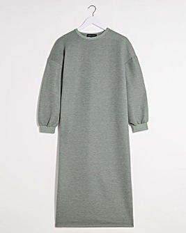 Khaki Midi Sweat Dress with Side Splits