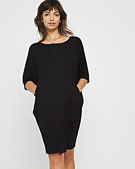 Black Cocoon Jersey Dress with Side Pockets
