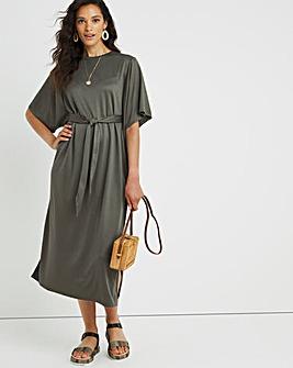 Khaki Belted Jersey Modal Dress