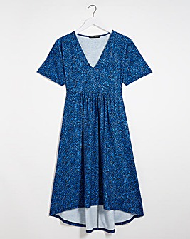 Blue Animal Relaxed V-Neck Dress
