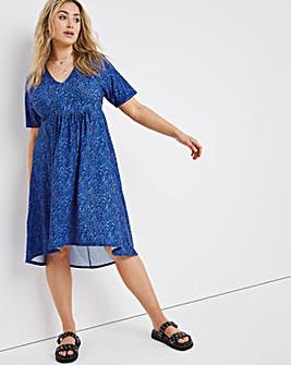 Blue Animal Relaxed V-Neck Dress