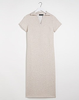 Oatmeal Jersey Collar Dress with Side Splits