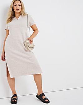 Oatmeal Jersey Collar Dress with Side Splits