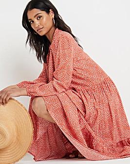 Terracotta Print Tiered Midi Dress