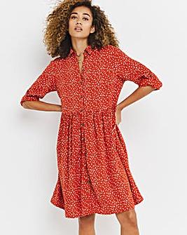 Terracotta Dash Print Twill Shirt Dress