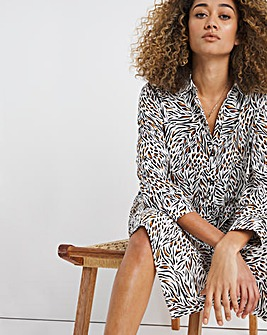 Animal Print Twill Smock Shirt Dress