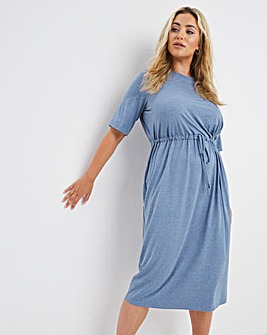 Washed Blue Soft Touch Drawcord Waist T-Shirt Dress