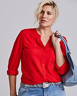 Red Collarless Viscose Shirt