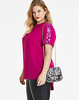Pink Sequin Trim Detail Blouse