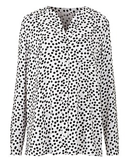 Ivory Spot Collarless Viscose Shirt