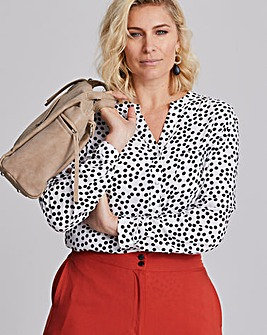 Ivory Spot Collarless Viscose Shirt
