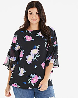 Black Floral Frill Detail Blouse