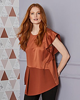 Frill Sleeve Top with Asymetric Hem