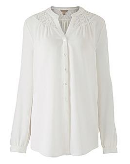 Ivory Lace Shoulder Button Blouse
