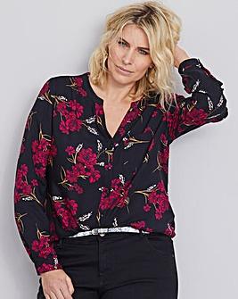 Black Floral Collarless Viscose Shirt