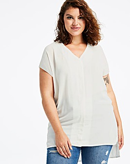 Ivory V-Neck Tuck Detail Shirt