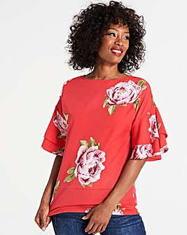 Red Floral Frill Sleeve Shell Top