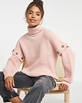 Roll Neck with Button Sleeve