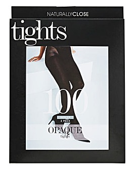 2 Pack 100 Denier Opaque Black Tights