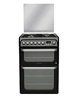 Hotpoint Ultima HUD61KS Dual Fuel Double 60cm Cooker Black + Installation