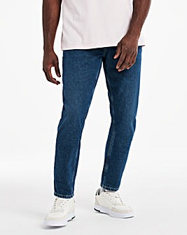 Midwash Belted Tapered Fit Jeans