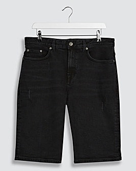 Blackwash Straight Fit Denim Shorts