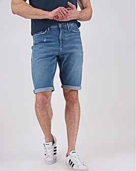 Lightwash Straight Fit Denim Shorts
