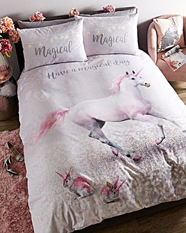 Catherine Lansfield Magical Unicorn Reversible Duvet Cover Set