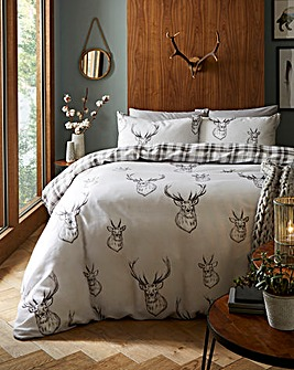 Stag Grey Reversible Duvet Cover Set