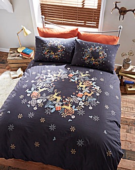 Holly Wreath Duvet Cover Set