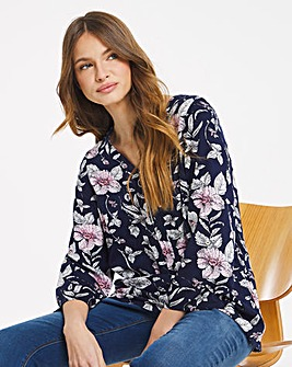 Julipa Zip Front Print Blouse