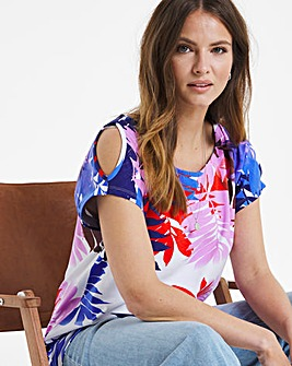 Julipa Palm Print Cold Shoulder Top