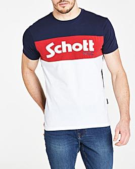 Schott Panelled Logo T-Shirt