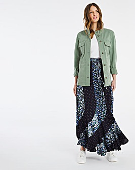 Julipa Mixed Print Panelled Skirt