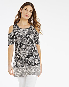 Julipa Jersey Cold Shoulder Border Top