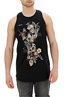 Religion Hand Draw Flower Skeleton Vest Long